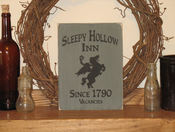 Sleepy Hollow Inn Since 1790 Headless Horseman Wood Sign-Sleepy Hollow Inn Since 1790 Headless Horseman -WOOD SIGN- Halloween Spooky Decor Primitive