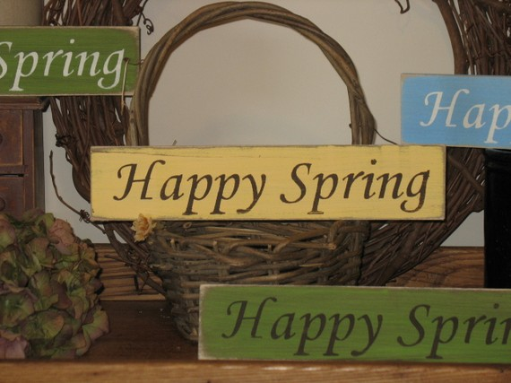 Happy Spring Wood Sign