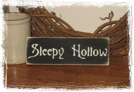 Sleepy Hollow Wood Sign-Sleepy Hollow -WOOD SIGN- Hand Painted Fall Season Halloween Country Primitive Spooky Home Decor Gift
