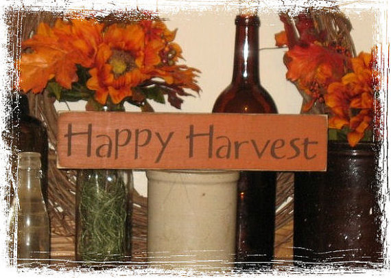 Happy Harvest Wood Sign-Happy Harvest -WOOD SIGN- Hand Painted Fall Season Country Primitive Farm Home Decor Gift