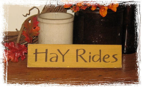 Hay Rides Wood Sign-Hay Rides -WOOD SIGN- Hand Painted Fall Season Country Primitive Farm Home Decor Gift