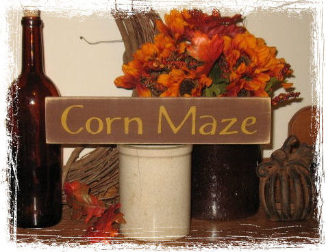 Corn Maze Wood Sign-Corn Maze -WOOD SIGN- Hand Painted Fall Season Country Primitive Farm Home Decor Gift
