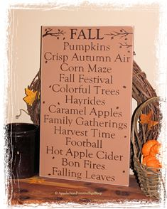 #259 FALL - WOOD SIGN- Fall Rustic Autumn Thanksgiving Home Decor
