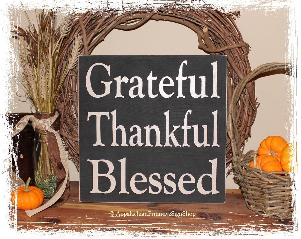 Grateful Thankful Blessed - WOOD SIGN- Square Fall Rustic Autumn Thanksgiving Home Decor-Grateful Thankful Blessed - WOOD SIGN- Square Fall Rustic Autumn Thanksgiving Home Decor