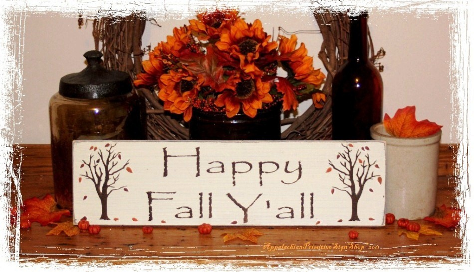 Happy Fall Y�all with Trees -Wood Sign- Seasonal Decor-Happy Fall Y�all with Trees -Wood Sign- Seasonal Decor