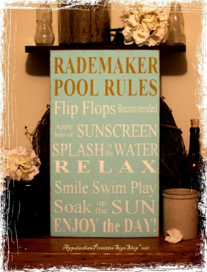 Custom Family Name Pool Rules -Wood Sign- Outdoor Decor-Custom Family Name Pool Rules -Wood Sign- Outdoor Decor