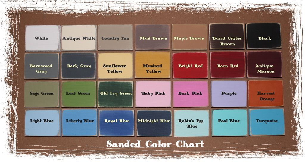Color chart distressing level chart