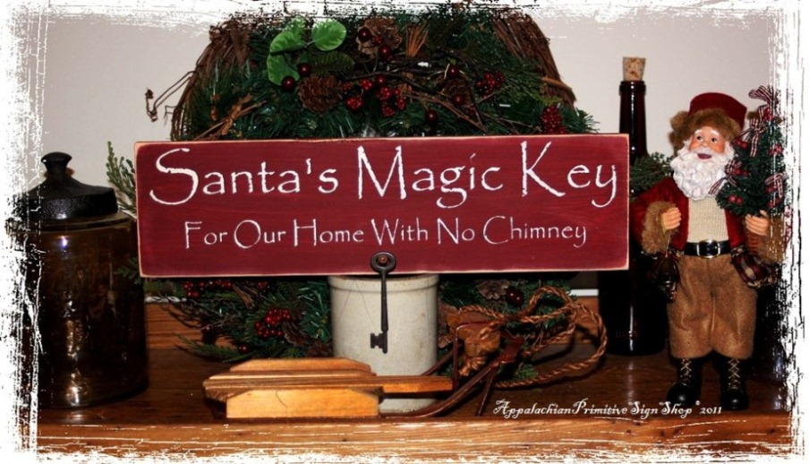 Santa's Magic Key For Our Home With No Chimney includes Primitive Nail and Key (Medium Size) -Wood Sign- Christmas Decor