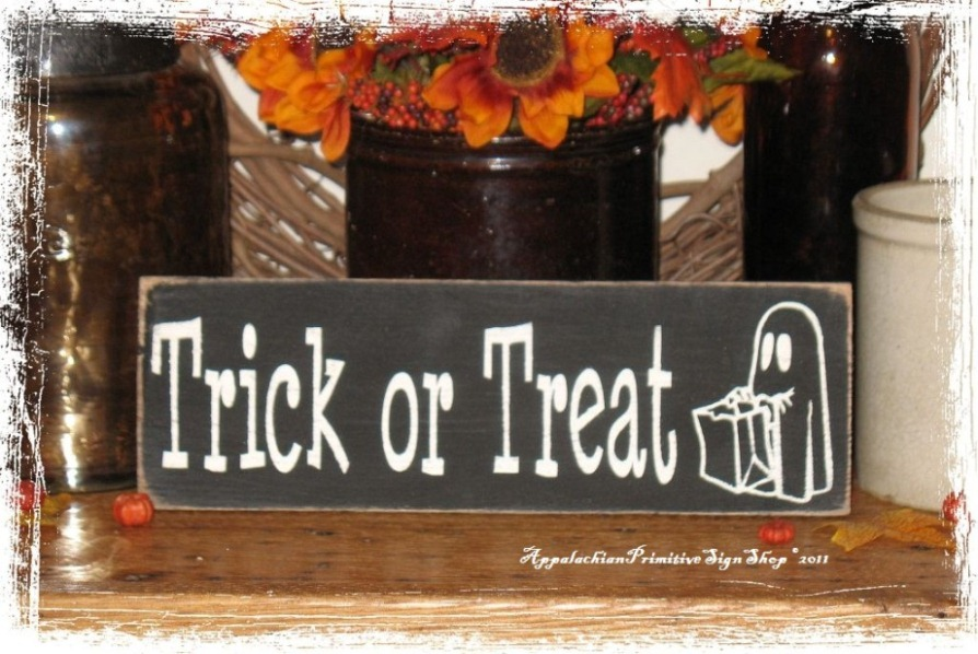 Trick or Treat with Cute Ghost -Wood Sign- Halloween Decor