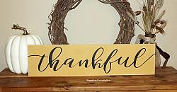 #1001 Thankful -WOOD SIGN- Thanksgiving Family Home Decor Thanksgiving