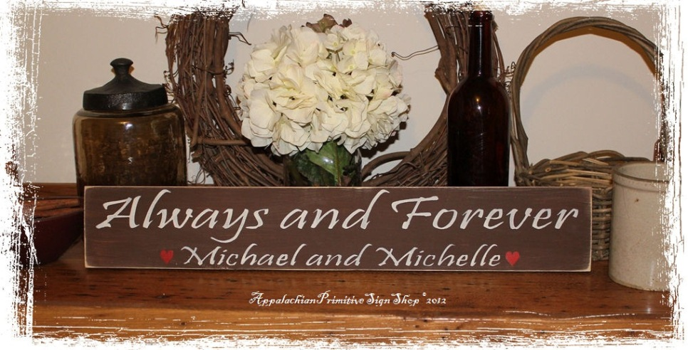 Custom Always and Forever with Hearts -Wood Sign- Decor-Custom Always and Forever with Hearts -Wood Sign- Decor