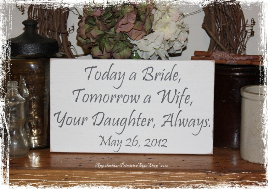 Wedding Gift For Dad And New Wife : ... Custom Wedding Date -Wood Sign- Mother & Father of the Bride Gift