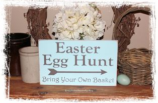 Easter Egg Hunt Bring your own Basket -WOOD SIGN- Easter Spring Home Decor