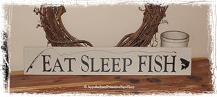 Eat Sleep Fish - WOOD SIGN- Fisherman Decoration Home Decor Father's Day Gift