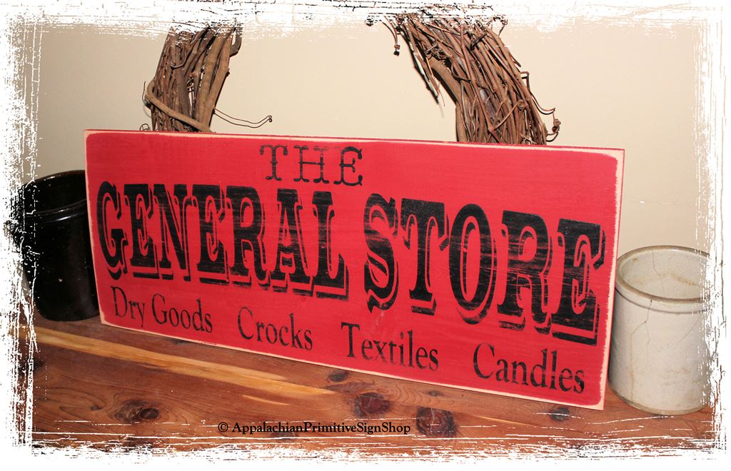 High Quality The General Store   WOOD SIGN  Primitive Antique Country Kitchen  Housewarming Gift Home Decor