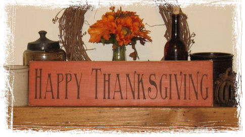 Happy Thanksgiving Wood Sign-Happy Thanksgiving WOOD SIGN Fall Country Rustic Primitive Holiday Decor Gift