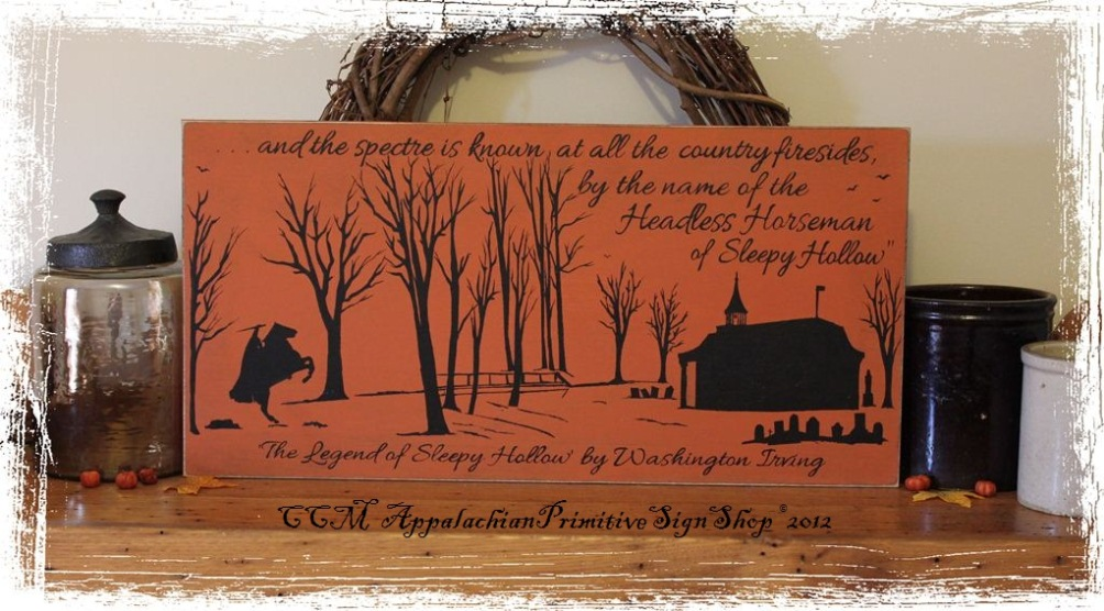 Legend of Sleepy Hollow Headless Horseman Painting Halloween Decor Wood Sign Silhouette Art-Legend of Sleepy Hollow Headless Horseman Painting Halloween Decor Wood Sign