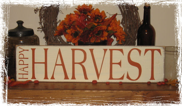 Happy Harvest Wood Sign-Fall Rustic Primitive Wood Sign--Happy Harvest