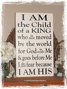 I am the Child of King I am His –Large WOOD SIGN- Family Christian Salvation Gift Kids Room Nursery Home Decor