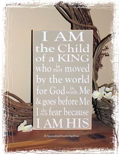 I am the Child of King I am His -WOOD SIGN- Family Christian Salvation Gift Kids Room Nursery Home Decor