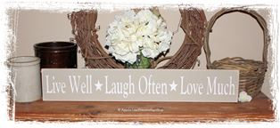Live Well, Laugh Often, Love Much with Stars -WOOD SIGN- Family Home Decor Primitive Country Rustic