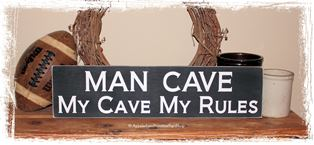Man Cave My Cave My Rules -WOOD SIGN- Home Décor Gameroom Decor Father Dad Gift