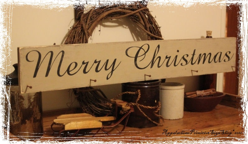 Merry Christmas Stocking Hanger with Primitive Nails -Wood Sign- Decor