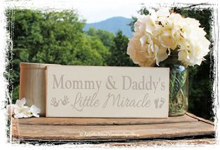 Mommy and Daddy's Little Miracle -WOOD SIGN- Nursery Kids Room Baby Shower Gift Footprint Handprint