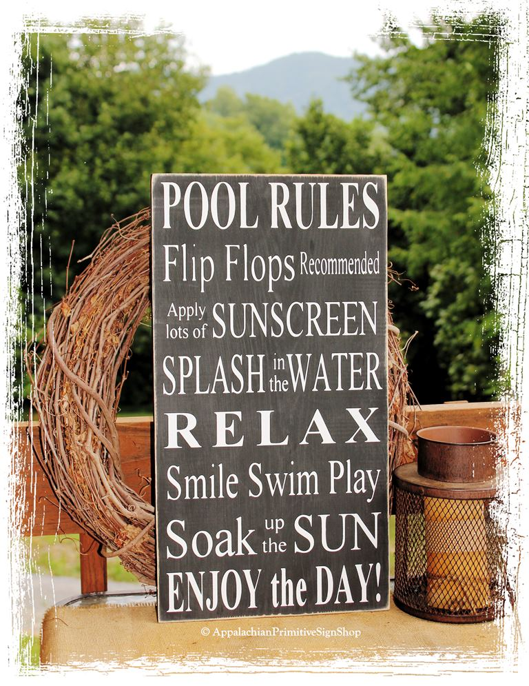 Pool rules sign outdoor decor pool decoration family pool for Outdoor decorative signs