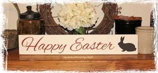 Happy Easter with Bunny Wood Sign Home Decor Holiday Spring Decoration
