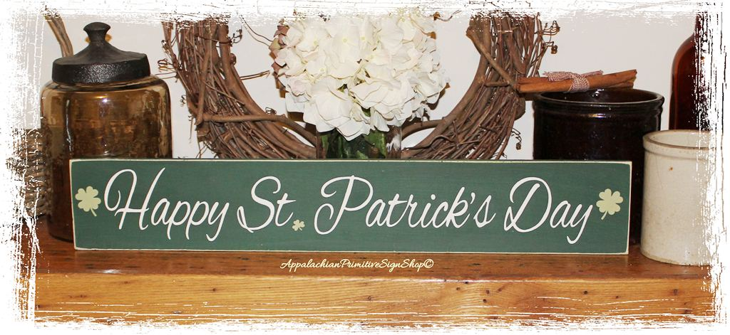 Happy St Patricks Day Wood Sign Spring Home Decor Holiday