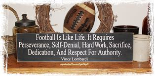 Football Is Like Life Vince Lombardi Quote Wood Sign Sports Fan Gameroom Mancave Decor Coach Gift