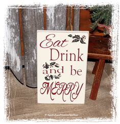Eat Drink and Be Merry WOOD SIGN Winter Home Decor Christmas Sign Kitchen Decor Dining Room Holiday Decoration Seasonal Decor Holly