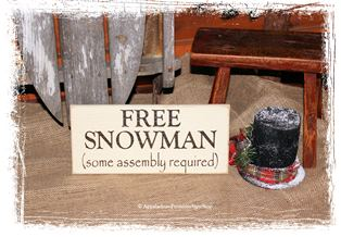 Free Snowman WOOD SIGN Christmas Sign Winter Decor Seasonal Decoration Primitive Home Decor