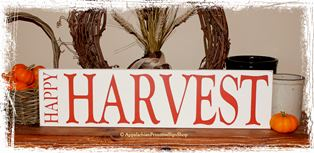 Happy Harvest -Wood Sign- Fall Thanksgiving Halloween Rustic Primitive Home Decor