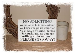 No Soliciting Please Go Away WOOD SIGN Funny Thin Mints Home Decor Porch Decoration