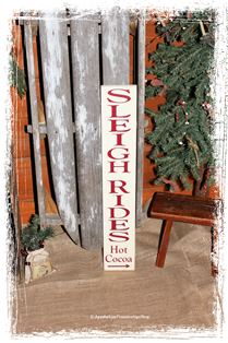 #318 Sleigh Rides Hot Cocoa -WOOD SIGN- Winter Home Decor Christmas Sign Porch Decor Directional Arrow Holiday Decor Seasonal Decor
