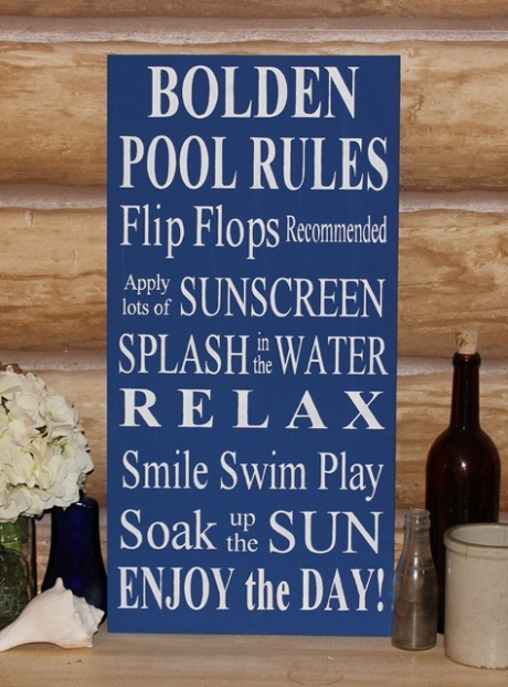 Pool Rules Sign Personalized Pool Rules Wood Sign Outdoor Decor Pool Decoration Family