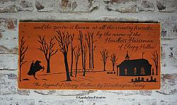#231 Legend of Sleepy Hollow Headless Horseman Painting Halloween Decor Wood Sign Silhouette Art