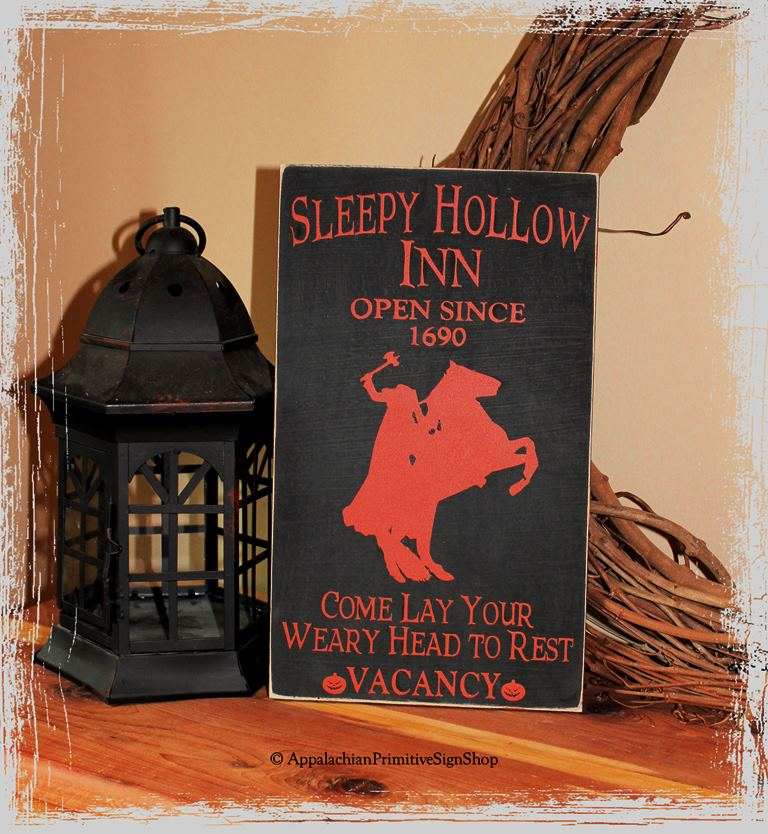 Sleepy Hollow Inn Wood Sign Halloween Spooky Decor
