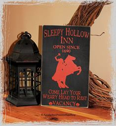 Sleepy Hollow Inn Open Since 1690 Come Lay Your Weary Head to Rest Vacancy with the Headless Horseman Wood Sign