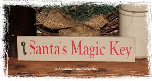 Santa's Magic Key Small Sign & Key - WOOD SIGN- Christmas Decoration Home Decor