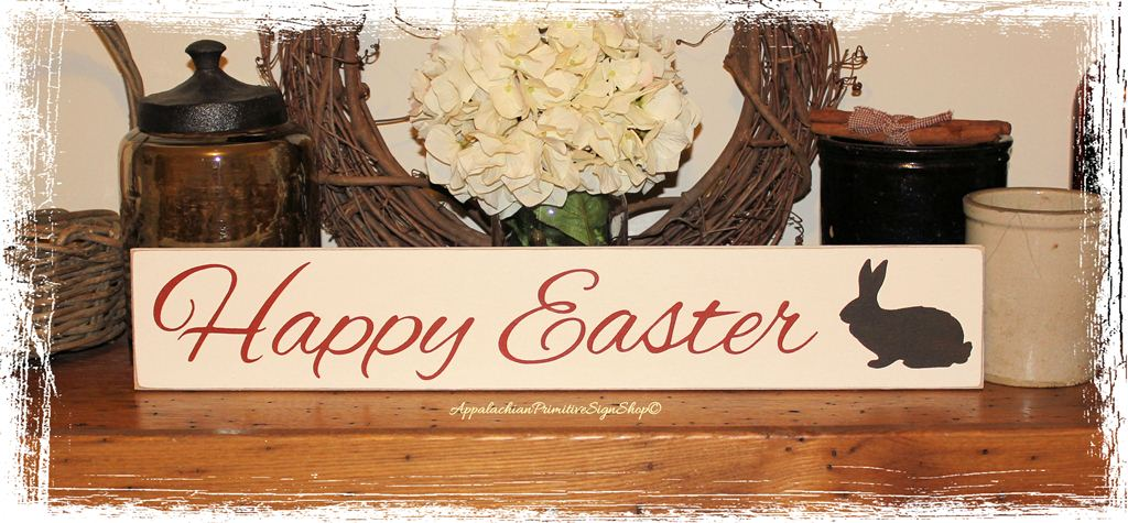 Happy Easter with Bunny Wood Sign Home Decor Holiday ...